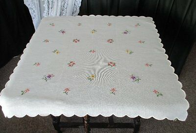 Pretty Tablecloth - Hand Embroidered Small Flowers - Unused