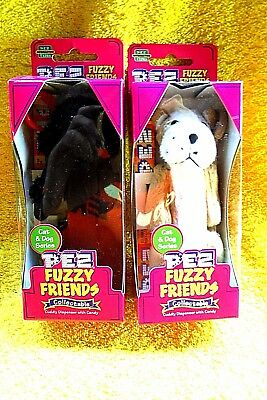 New In Pack 2 Cat & Dog Series Dogs Molly & Brutis Fuzzy Pez Dispensers-Retired