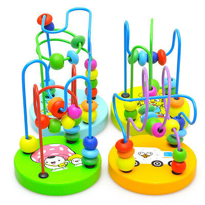 Children Kids Baby Colorful Wooden Mini Around Beads Maze Educational Game Toy