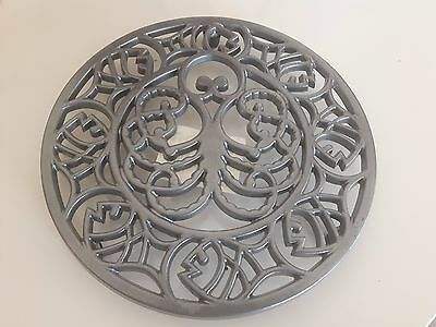 New Robert Welch Cast Iron Round Trivet 20cm Octopus Fish Design black or silver