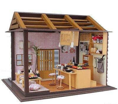 Kits DIY Wooden Dollhouse Sushi shop Doll House LED Light Furniture toy gift