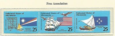 1990 Free Association  Strip of 3  Complete MUH/MNH as Issued