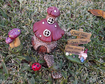 6x DIY Fairy Garden Miniature Ornaments Toadstool Gnome Frog Home Decor Set NEW