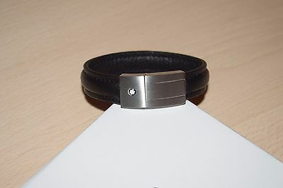 NEW MontBlanc Men's Black Calf Leather with Steel Bracelet without tags