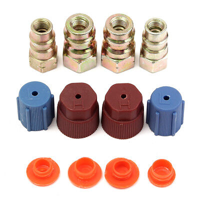 """4x High & Low Side R12 to R134a 3/16"""" Recharge Adapter A/C Quick Disconnect 1/4"""""""
