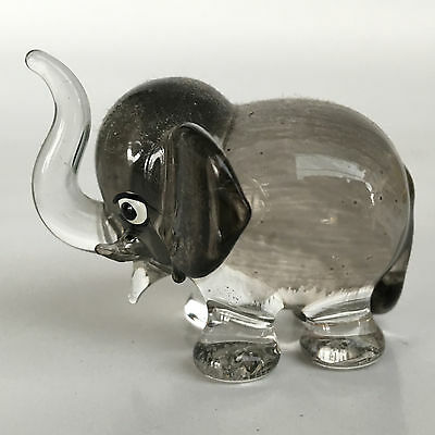 Elephant Glass Cute Gift Black Color Hand Painted Figurines Home Decoration