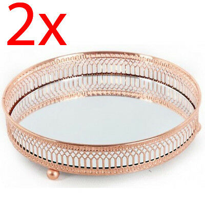 2 X Mirror Glass Metal Antique Decorative Candle Plate Display Tray Copper 20Cm