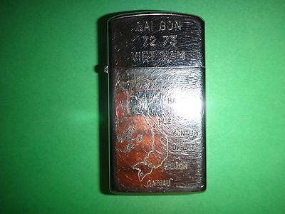 "Vietnam War Year 1972 Zippo Slim Lighter ""SAIGON 72-73 VIETNAM"", Map Of Vietnam"