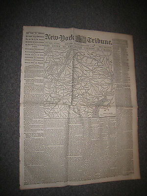 News Ny Tribune Large Map Civil War Sept 2 1862 Battle Virginia Bull Run