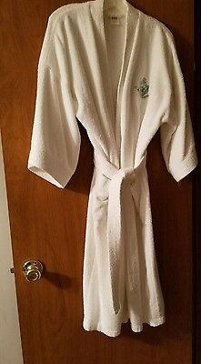 Vintage Beverly Hills Hotel White Terry Cloth Bath Robe!  Size L/XL