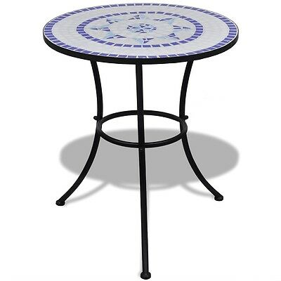 S#Mosaic Side Table 60 cm Ceramic Blue and White Bistro Bar Garden Porch Balcony