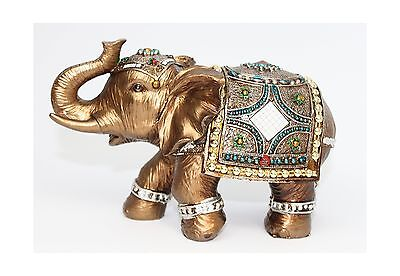 "Feng Shui Brass Color 6"" Elegant Elephant Trunk Statue Wealth Lucky Figurine ..."