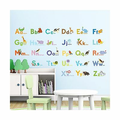 Decowall DAT-1608 Watercolour Animal Alphabet Peel and Stick Nursery Kids Wal...