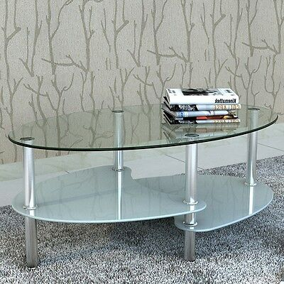 S# Modern High Gloss Glass Top Coffee Table Side Dinner Office Bedside 3 Tier Wh