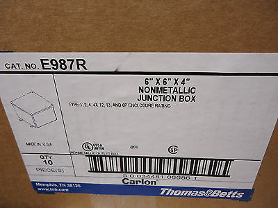 "Case of 10 Thomas & Betts E987R 6"" X 6"" X 4"" JUNCTION BOX"
