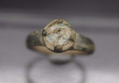 Nice Early Medieval Bronze Ring With Insert 12Th Century Ad