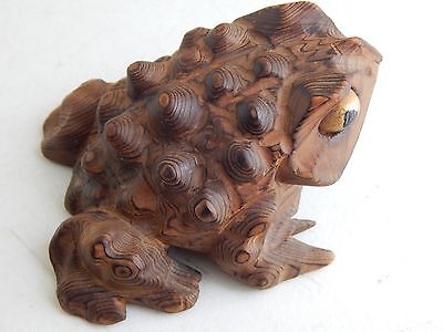 "Big 4.5"" Vintage Hand-Carved Cryptomeria Wood Horny Toad Frog Figure - Wooden"