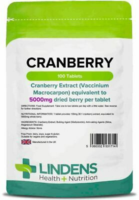 Lindens 1714 - Cranberry Juice 5000mg Tablets (100 pack) cystitis urinary health