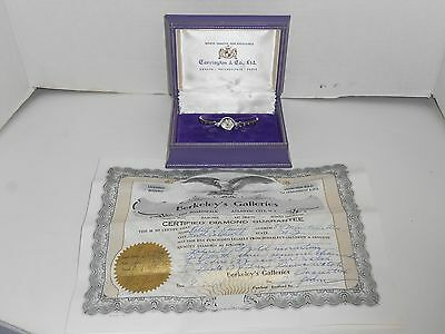 Ladies Vintage Carrington  & Co  Watch 14K With Diamonds Never Used In Box W/Ca