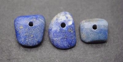 Group Of 3 Ancient Egyptian Lapis Lazuli Beads