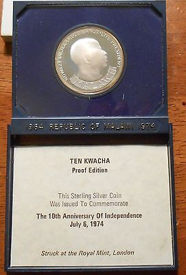 1964-74 Republic Of Malawi Ten Kwacha Sterling Silver Proof Coin