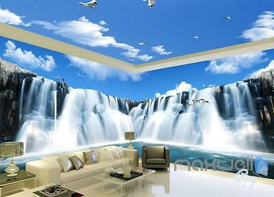 3D Large Waterfall Blue Sky Ceiling Entire Room Wallpaper Wall Mural Art Prints