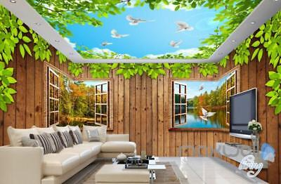 3D Wood Cabin Windsows River Entire Living Room Business Wallpaper Wall Mural Ar