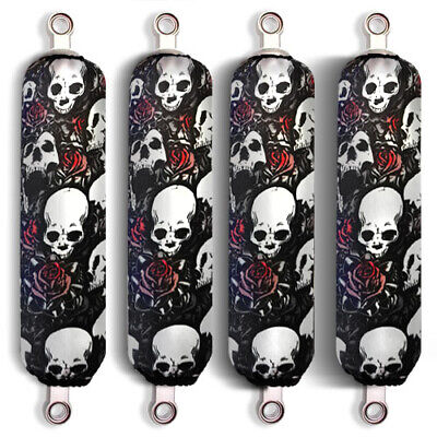 Black Skull Shock Covers Honda Pionner 500 700 1000 Big Red 700 (Set of 4) NEW