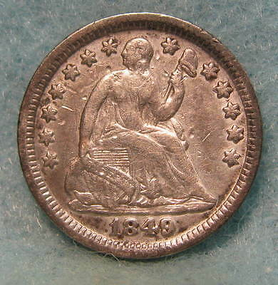 1849 Seated Liberty Silver Half Dime VF- * Circulated US Coin #809