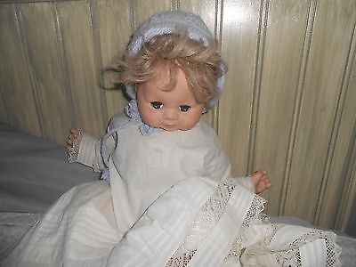 "Vintage 1950 OR 1960  Baby GIRL Doll Floppy Baby18"" HAIR, GREEN EYES PRE OWNED"