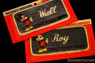Walt Disney & Roy O. Disney Embroidered NAME PATCHES Mickey Mouse WDP Disneyland