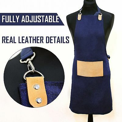 Fully Adjustable Apron in Blue One Size Fits All Work Wear Barber/Hairdresser