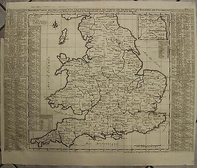 England & Wales 1719 Chatelain Large Antique Original Copper Engraved Map