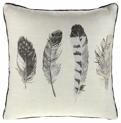 """IDAHO FEATHER PRINTED CUSHION COVER 17"""" x 17"""" CHARCOAL GREY"""