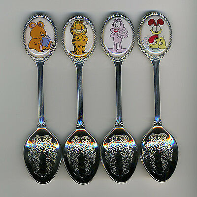 Garfield and Friends 4 Silver Plated Spoons Featuring Garfield and Friends