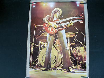 Rare Jimmy Page Live Led Zeppelin  1976 Vintage Music Guitar Poster