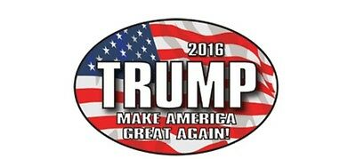 Donald Trump 2016 Make America Great Again Flag Background Oval Sticker