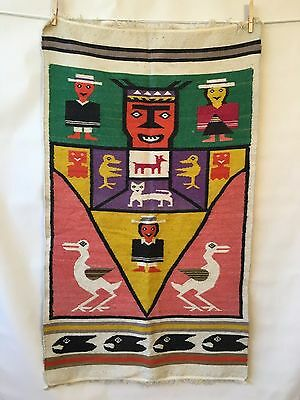 """Vintage Peruvian Hand Made Woven Alpaca Tapestry Rug Art Bright Colors 42"""" x 25"""""""
