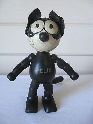 Antique 1920's Schoenhut Felix The Cat 8 Inch Jointed Painted Wooden Toy