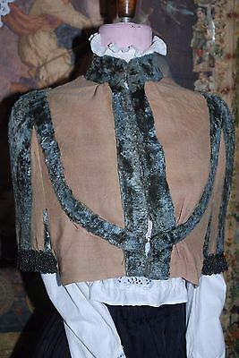 Lovely Victorian Antique Unusual Linen Crushed Teal Blue Velvet & Beads Capelet