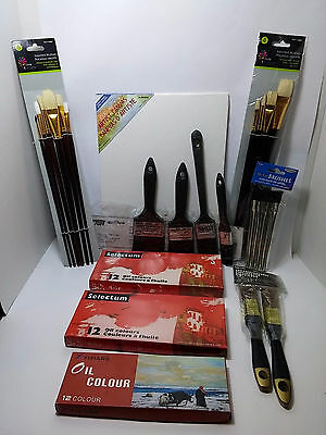 Art Supplies Kit oil paint brushes canvas Do it Yourself assorted hair brushes