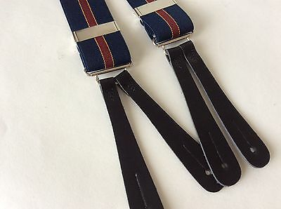 1940's Style Blue stripe  , Black Leather End Button Braces 35mm