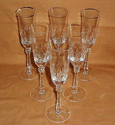 Lot of 6 Mikasa Cameo Cut Lead Crystal Champagne Flutes 57640 Full Lead Crystal
