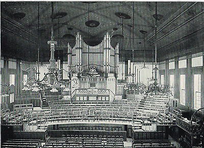 Exeter Hall London Interior Of The Great Hall 1896 Antique Picture Print #143