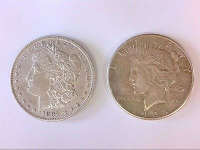 Nice 1891cc + 1928 US Silver Dollars.  RARER DATES. NICE DETAILS. CHECK IT OUT!!