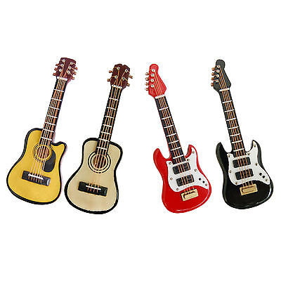 MINIATURE COLLECTABLE CLASSIC ACOUSTIC GUITAR 8cm IN PARCEL- WOODEN - HOME DECOR
