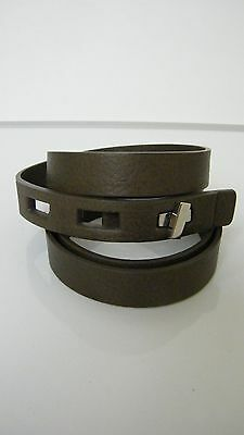 Fabiana Filippi Women's Thin Brown Leather Belt Silver Buckle ITALY Size 50