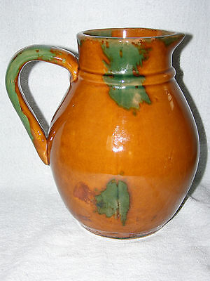 Antique REDWARE Pitcher with Green & Manganese Splotches