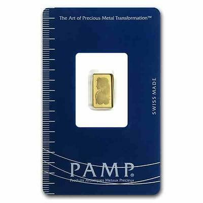 New 1 gram Gold Pamp Suisse Fortuna Ingot Bar with integrated Assay Certificate