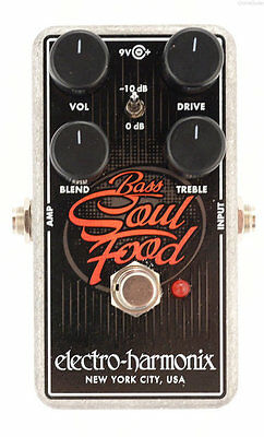 USED ELECTRO HARMONIX  BASS SOUL FOOD OVERDRIVE EFFECTS PEDAL w/ FREE US S&H
